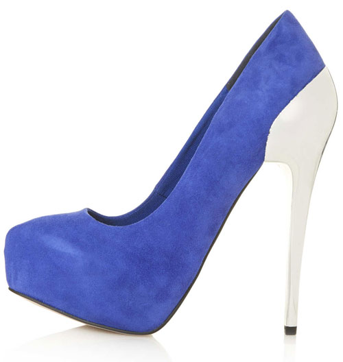 blue platfrm shoes with silver heel