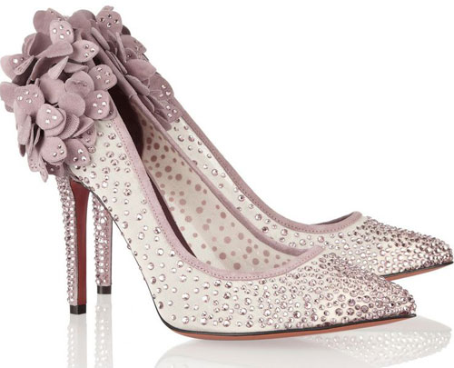 Gelmer Swarovski crystal-embellished mesh and suede pumps