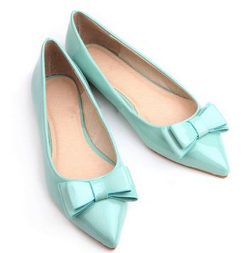 blue pointed ballet flats