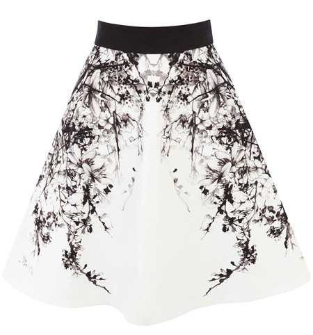 black and white full skirt
