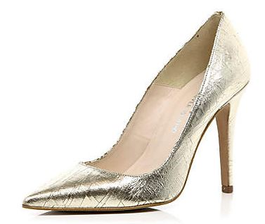 gold pointed toe pumps from River Island