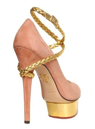 Pink platform shoes with gold rope detail