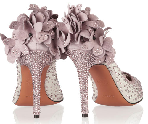 lilac embellished high heel shoes