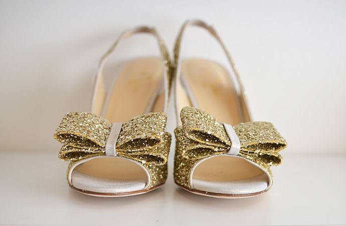 gold glitter slingbacks with bow and high heel