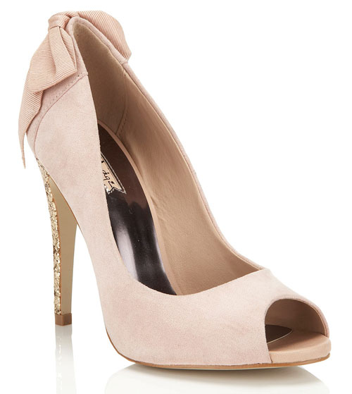 Miss Selfridge 'Sista' pink peep toes with bow on heel