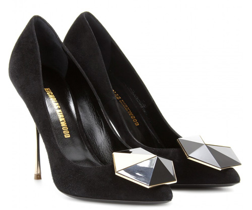 black suede pumps with art deco detail on toe