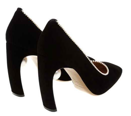 black shoes with pearl tucked under heel