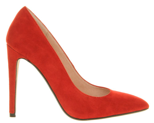 Office Razzle red suede pointed toe pumps
