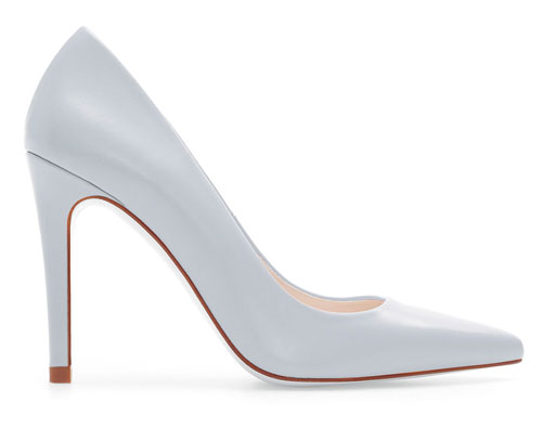 pale blue court shoes with high heel and pointed toe