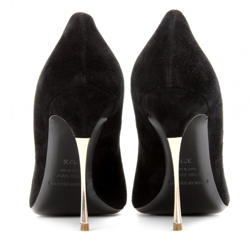 gold pin heels on shoes