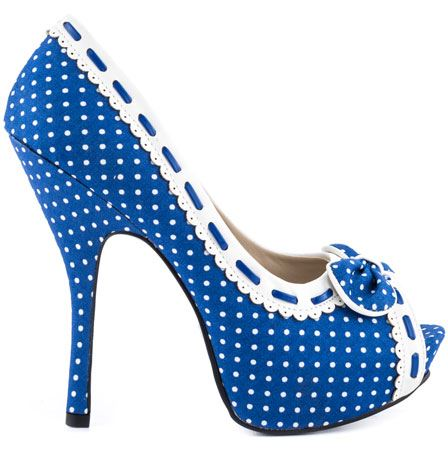 blue polka shoes