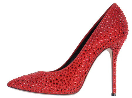 red studded high heels by Casadei