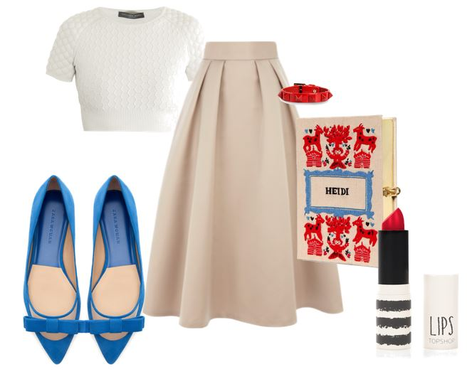 50s inspired outfit with flat shoes and full skirt