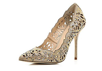 gold court shoes by River Island