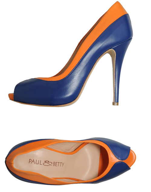 blue and orange peep toes