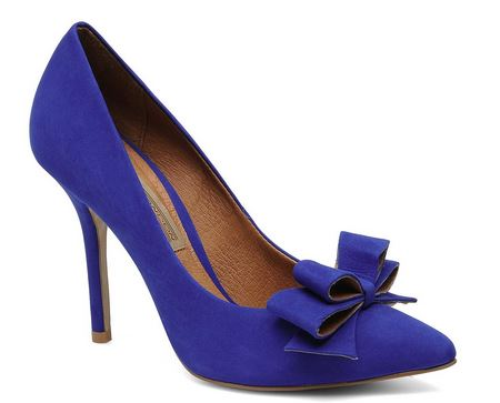 blue high heels with bow