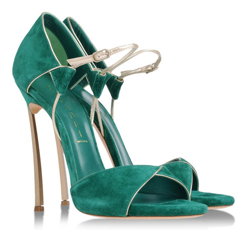 Casadei green and gold Blade sandals