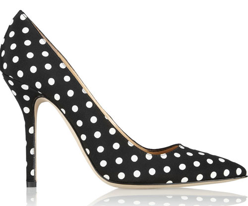 polka dot shoes with high heels