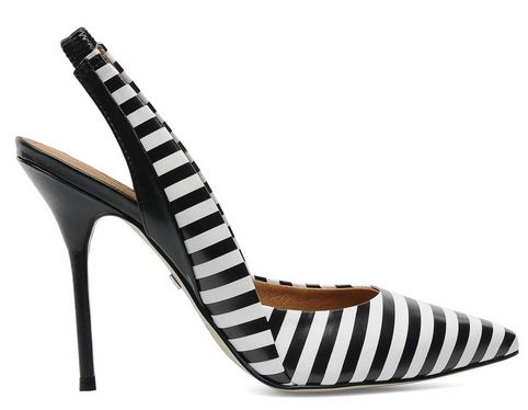 black and wite stripe slingback shoes