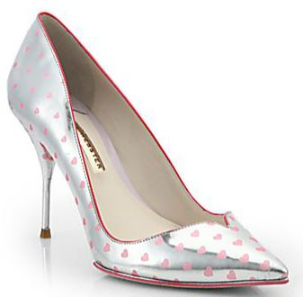 silver shoes with pink hearts