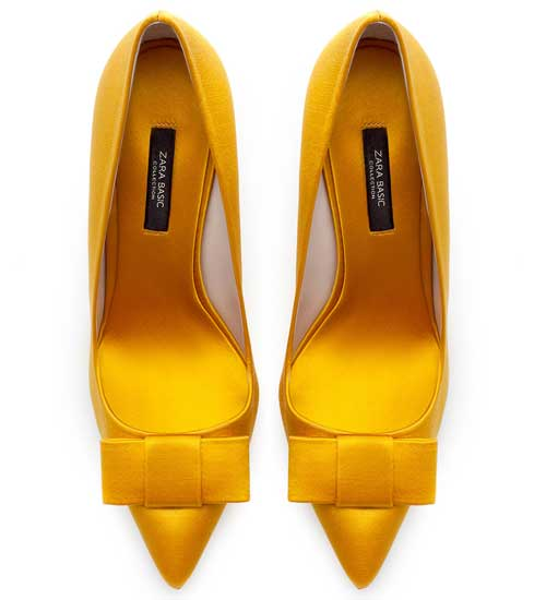 yellow pointed toe court shoes with bows