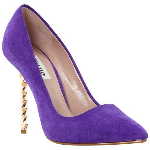 purple suede shoes with gold heel