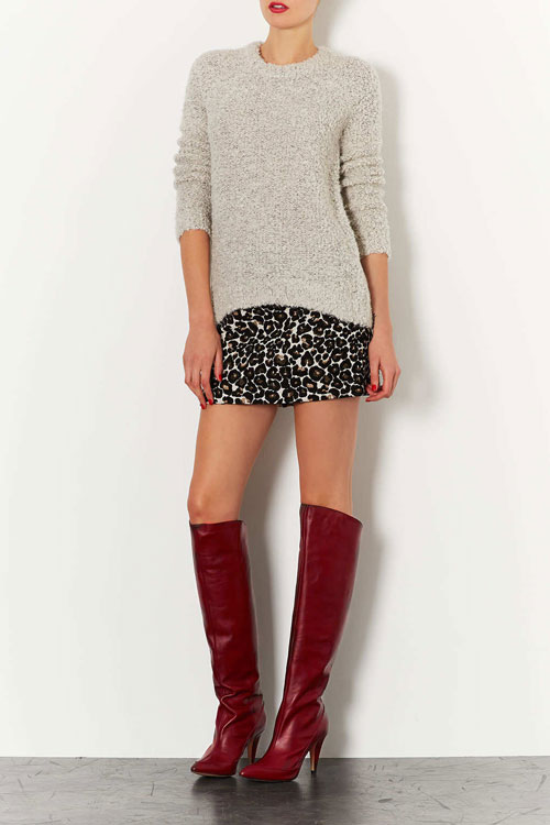 Topshop Betty burgundy boots