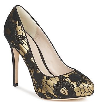 black and gold high heel shoes