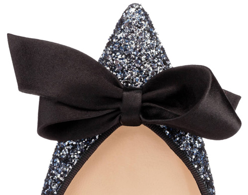 silver pointed toe with black bow