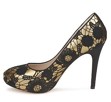 Bourne Matilda gold court shoes