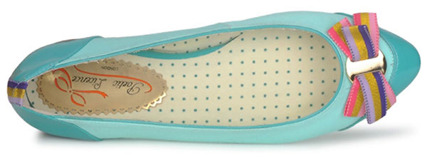 turquoise ballet flats with bow