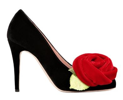 black pumps with red rose embellishment