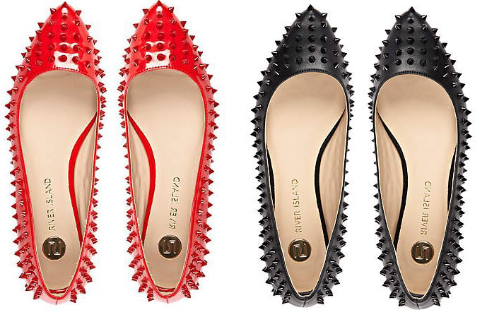 red and black spike studded ballet flats