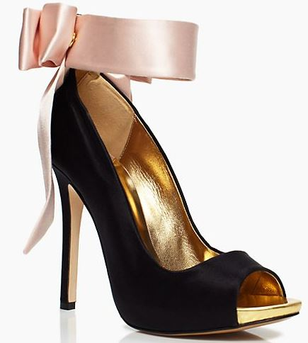 black Kate Spade shoes with pink now at the ankle