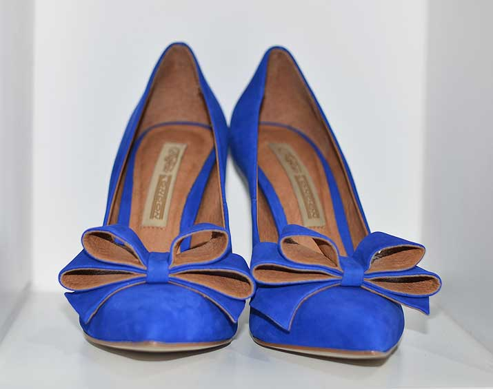 blue suede shoes with bow