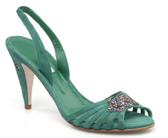 Patricia Blanchet 'Mlle Nounouche' green suede sandals