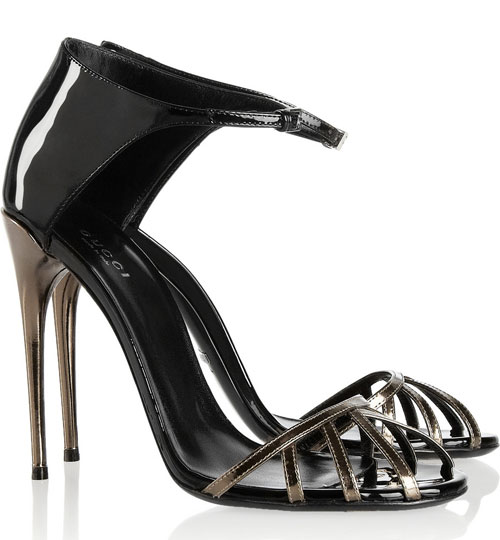 Gucci black and silver evening sandals