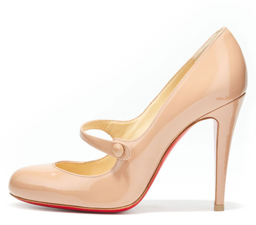 nude patent mary jane shoes by Christian Louboutin