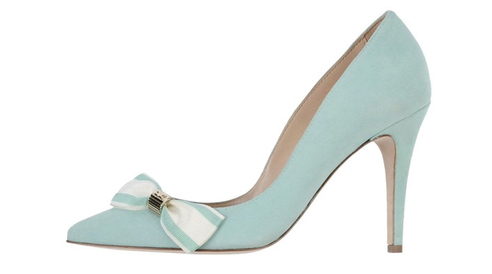 mint high heeled shoes with bow