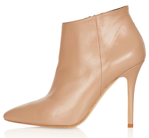 nude leather shoe boots
