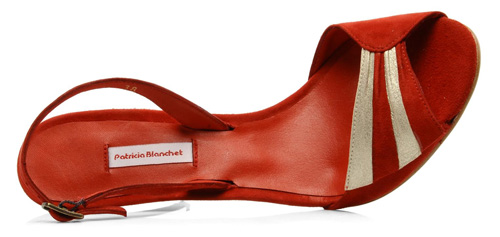 red and silver suede sandals