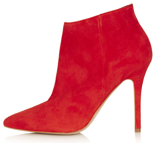Topshop 'Aloof' red suede shoe boots
