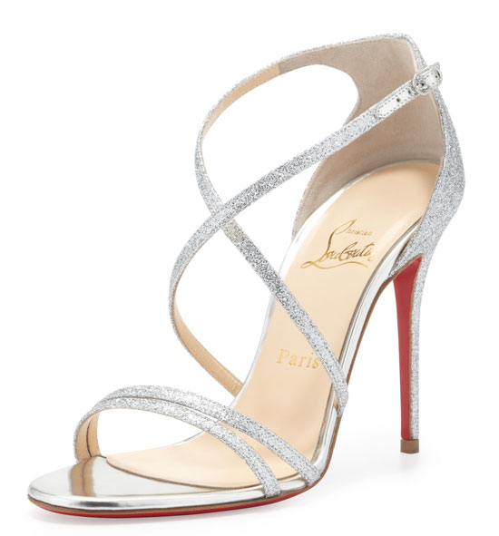 silver strappy sandals by Christian Louboutin
