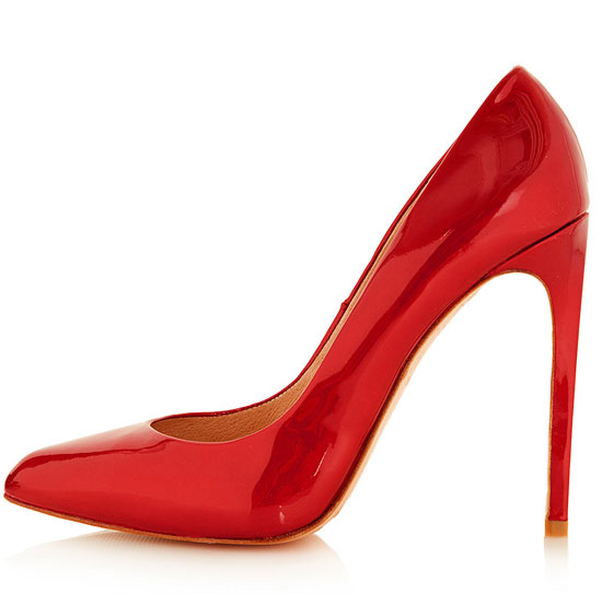 red patent high heel shoes