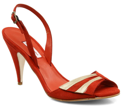 red vintage look sandals by Patricia Blanchet