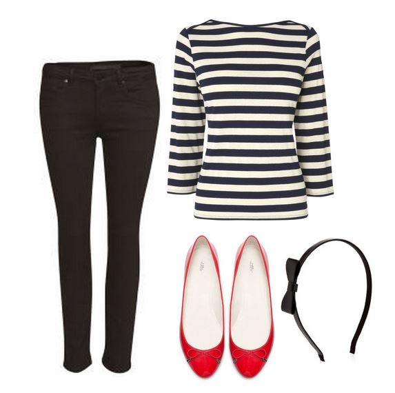 what to wear with red ballet flats