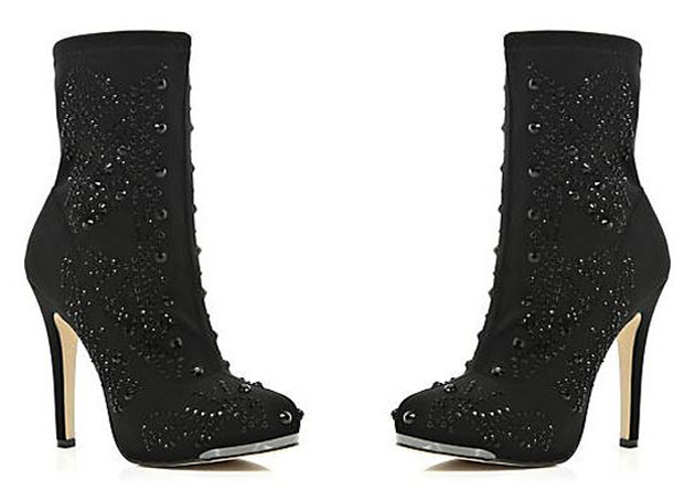 black embellished sock boots