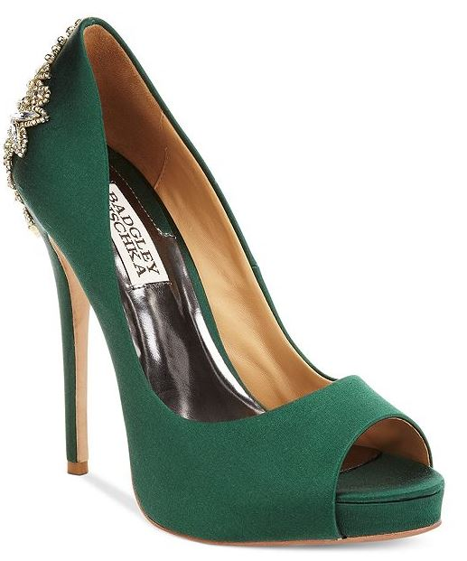 green satin peep toes