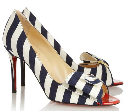 Christian Louboutin 'Just Soon' striped peep toes