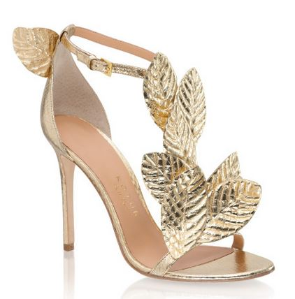gold strappy sandals with leaf details